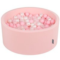 KiddyMoon Baby Foam Ball Pit 90x40 with Balls 7cm/ 2.75in Certified, Pink: Light Pink/ Pearl/ Transparent