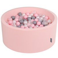 KiddyMoon Baby Foam Ball Pit 90x40 with Balls 7cm/ 2.75in Certified, Pink: Pearl/ Grey/ Transparent/ Light Pink