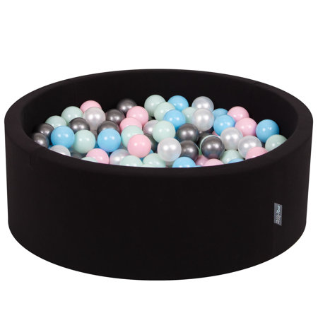 KiddyMoon Baby Foam Ball Pit with Balls ∅ 7cm / 2.75in Certified, Black:Pearl/Light Pink/Babyblue/Mint/Silver