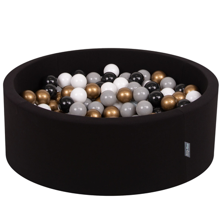 KiddyMoon Baby Foam Ball Pit with Balls ∅ 7cm / 2.75in Certified, Black:White/Grey/Black/Gold