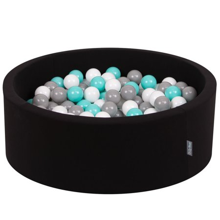 KiddyMoon Baby Foam Ball Pit with Balls ∅ 7cm / 2.75in Certified, Black:White/Grey/Light Turquoise