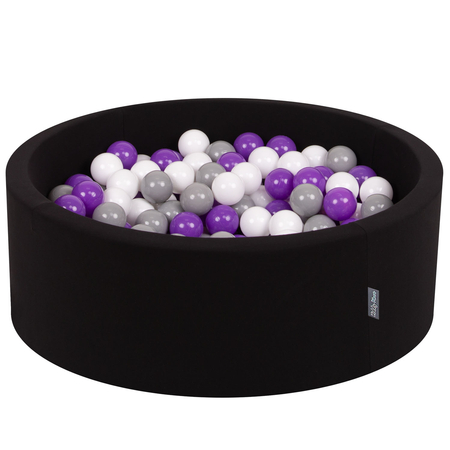 KiddyMoon Baby Foam Ball Pit with Balls ∅ 7cm / 2.75in Certified, Black:White/Grey/Purple