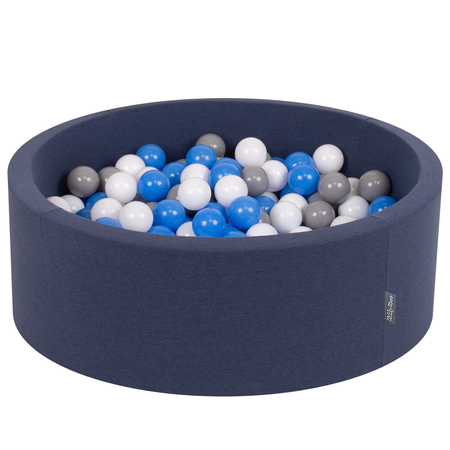 KiddyMoon Baby Foam Ball Pit with Balls ∅ 7cm / 2.75in Certified, D.Blue:Grey-White-Blue