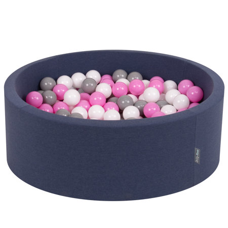 KiddyMoon Baby Foam Ball Pit with Balls ∅ 7cm / 2.75in Certified, D.Blue:Grey-White-Pink