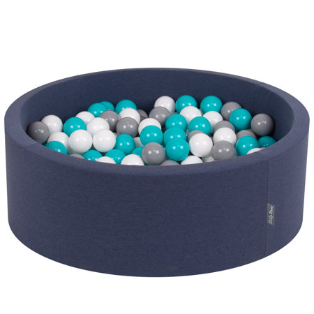KiddyMoon Baby Foam Ball Pit with Balls ∅ 7cm / 2.75in Certified, D.Blue:Grey-White-Turquoise