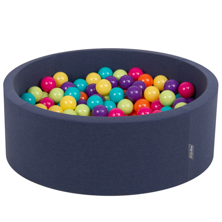 KiddyMoon Baby Foam Ball Pit with Balls ∅ 7cm / 2.75in Certified, D.Blue:L.Green-Yellw-Turquois-Orange-D.Pink-Purple