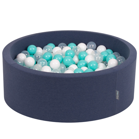 KiddyMoon Baby Foam Ball Pit with Balls ∅ 7cm / 2.75in Certified, D.Blue:L.Turquoise-White-Transparent