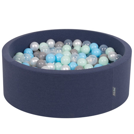 KiddyMoon Baby Foam Ball Pit with Balls ∅ 7cm / 2.75in Certified, D.Blue:Pearl-Grey-Transparent-Babyblue-Mint