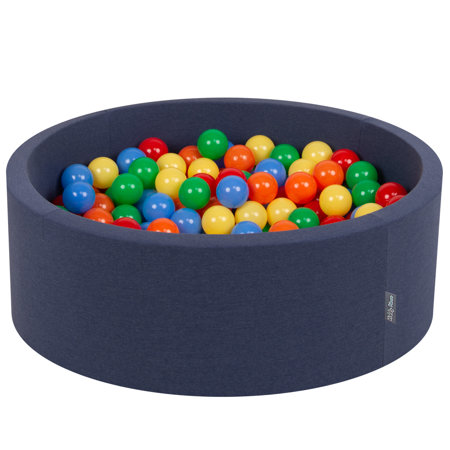 KiddyMoon Baby Foam Ball Pit with Balls ∅ 7cm / 2.75in Certified, D.Blue:Yellow-Green-Blue-Red-Orange