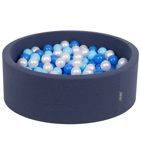 KiddyMoon Baby Foam Ball Pit with Balls ∅ 7cm / 2.75in Certified, Dark Blue:Babyblue-Blue-Pearl