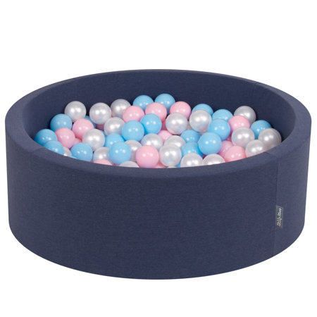 KiddyMoon Baby Foam Ball Pit with Balls ∅ 7cm / 2.75in Certified, Dark Blue:Babyblue-Light Pink-Pearl