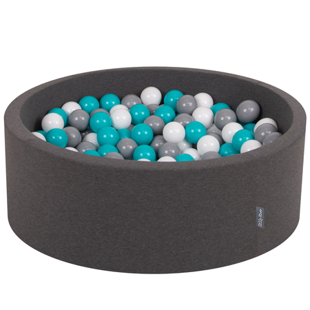KiddyMoon Baby Foam Ball Pit with Balls ∅ 7cm / 2.75in Certified, Dark Grey:Grey-White-Turquoise