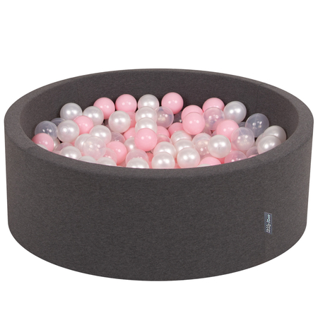 KiddyMoon Baby Foam Ball Pit with Balls 7cm /  2.75in Certified, Dark Grey: Light Pink/ Pearl/ Transparent