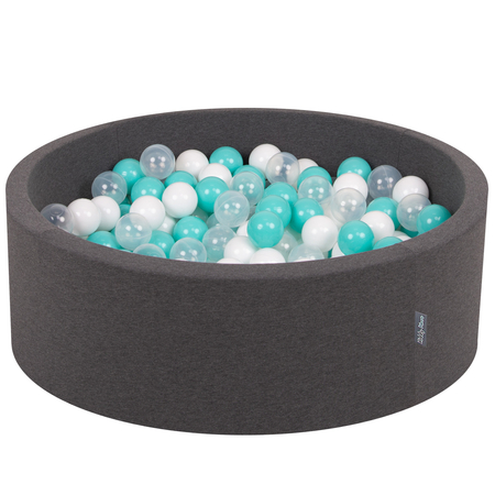 KiddyMoon Baby Foam Ball Pit with Balls 7cm /  2.75in Certified, Dark Grey: Light Turquoise/ White/ Transparent
