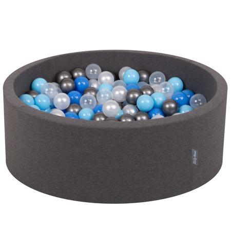 KiddyMoon Baby Foam Ball Pit with Balls 7cm /  2.75in Certified, Dark Grey: Pearl/ Blue/ Baby Blue/ Transparent/ Silver