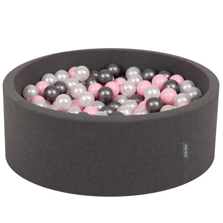 KiddyMoon Baby Foam Ball Pit with Balls 7cm /  2.75in Certified, Dark Grey: Pearl/ Light Pink/ Silver