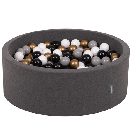 KiddyMoon Baby Foam Ball Pit with Balls 7cm /  2.75in Certified, Dark Grey: White/ Grey/ Black/ Gold