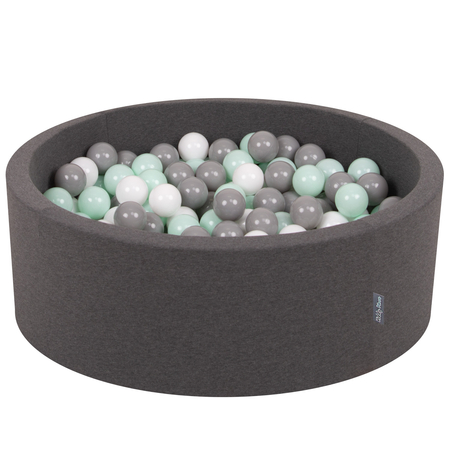 KiddyMoon Baby Foam Ball Pit with Balls 7cm /  2.75in Certified, Dark Grey: White/ Grey/ Mint