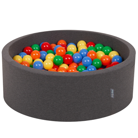 KiddyMoon Baby Foam Ball Pit with Balls 7cm /  2.75in Certified, Dark Grey: Yellow/ Green/ Blue/ Red/ Orange