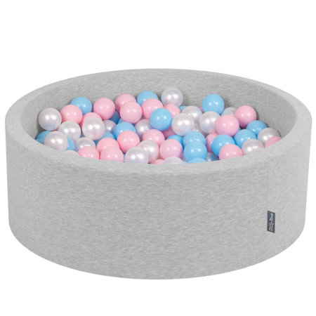KiddyMoon Baby Foam Ball Pit with Balls ∅ 7cm / 2.75in Certified, Light Grey:Baby Blue-Light Pink-Pearl