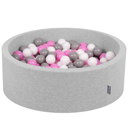 KiddyMoon Baby Foam Ball Pit with Balls ∅ 7cm / 2.75in Certified, Light Grey:Grey-White-Pink