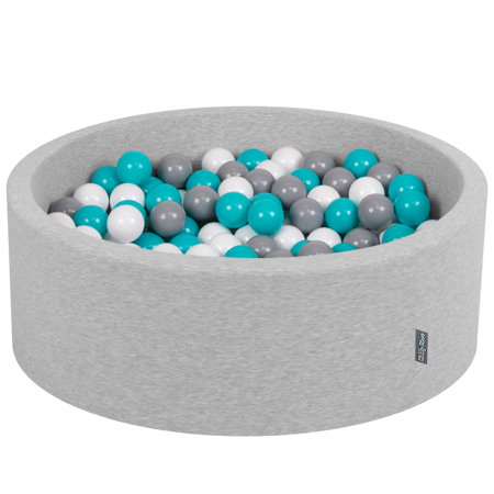 KiddyMoon Baby Foam Ball Pit with Balls ∅ 7cm / 2.75in Certified, Light Grey:Grey-White-Turquoise