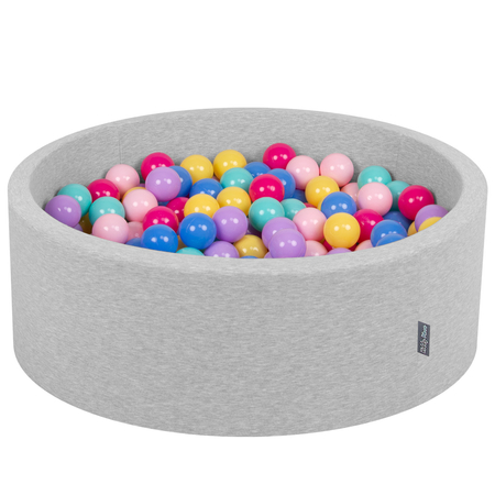 KiddyMoon Baby Foam Ball Pit with Balls ∅ 7cm / 2.75in Certified, Light Grey, L.Grey:D.Pink/L.Pink/Lilac/Blue/L.Turquois/Yellow