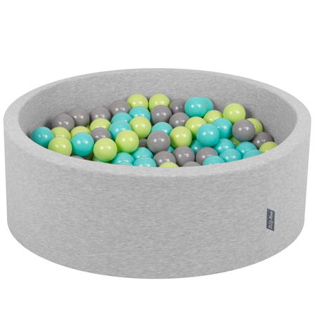 KiddyMoon Baby Foam Ball Pit with Balls ∅ 7cm / 2.75in Certified, Light Grey: Light Green/ Light Turquoise/ Grey