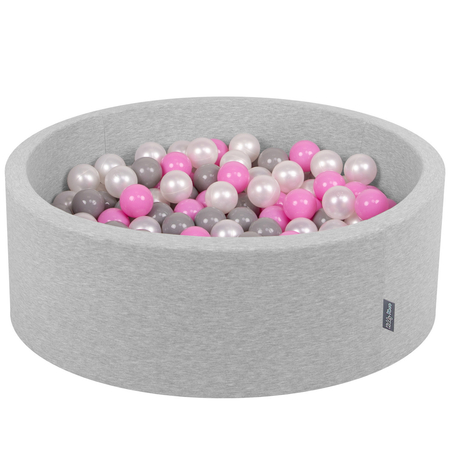 KiddyMoon Baby Foam Ball Pit with Balls 7cm / 2.75in Certified, Light Grey, Light Grey:Pearl/Grey/Pink