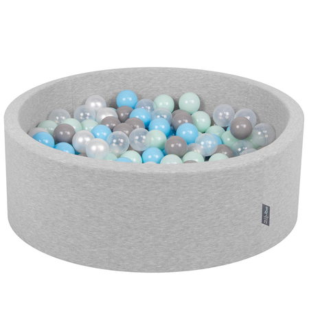 KiddyMoon Baby Foam Ball Pit with Balls 7cm / 2.75in Certified, Light Grey, Light Grey:Pearl/Grey/Transparent/Baby Blue/Mint