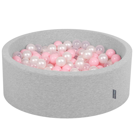 KiddyMoon Baby Foam Ball Pit with Balls ∅ 7cm / 2.75in Certified, Light Grey:Light Pink-Pearl-Transparent