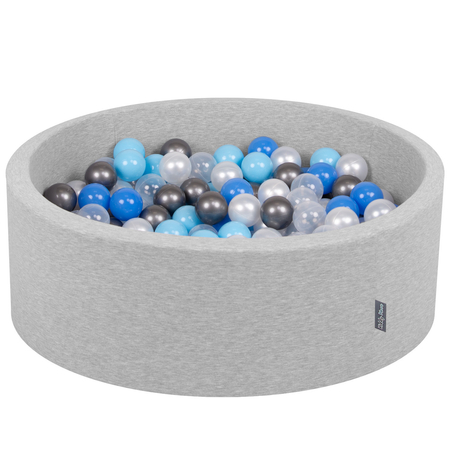 KiddyMoon Baby Foam Ball Pit with Balls ∅ 7cm / 2.75in Certified, Light Grey:Pearl-Blue-Baby Blue-Transparent-Silver