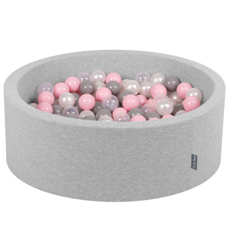 KiddyMoon Baby Foam Ball Pit with Balls ∅ 7cm / 2.75in Certified, Light Grey:Pearl-Grey-Transparent-Light Pink