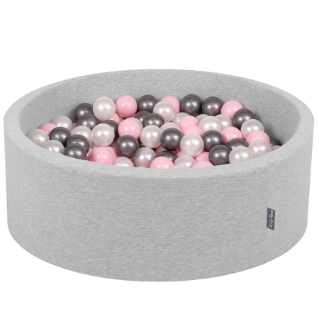 KiddyMoon Baby Foam Ball Pit with Balls ∅ 7cm / 2.75in Certified, Light Grey:Pearl-Light Pink-Silver