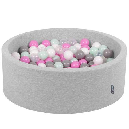 KiddyMoon Baby Foam Ball Pit with Balls ∅ 7cm / 2.75in Certified, Light Grey: Transparent/ Grey/ White/ Pink/ Mint