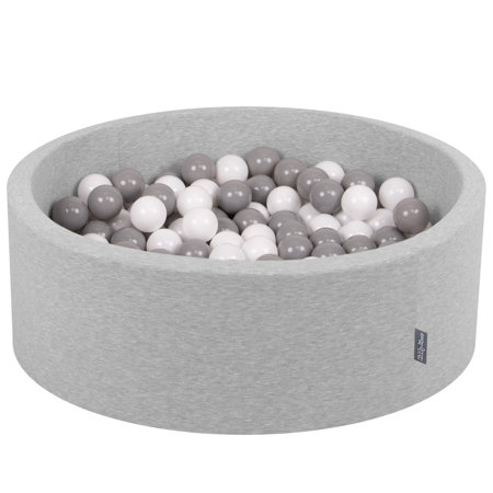 KiddyMoon Baby Foam Ball Pit with Balls ∅ 7cm / 2.75in Certified, Light Grey: White/ Grey