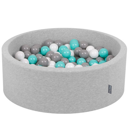 KiddyMoon Baby Foam Ball Pit with Balls ∅ 7cm / 2.75in Certified, Light Grey:White-Grey-Light Turquoise