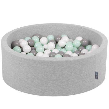 KiddyMoon Baby Foam Ball Pit with Balls ∅ 7cm / 2.75in Certified, Light Grey:White/Grey/Mint