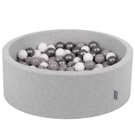 KiddyMoon Baby Foam Ball Pit with Balls ∅ 7cm / 2.75in Certified, Light Grey: White/ Grey/ Silver
