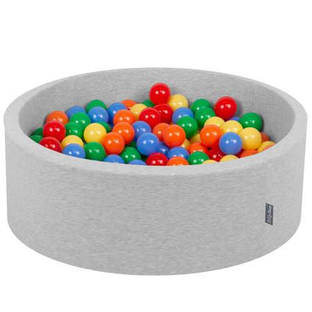 KiddyMoon Baby Foam Ball Pit with Balls ∅ 7cm / 2.75in Certified, Light Grey:Yellow/Green/Blue/Red/Orange