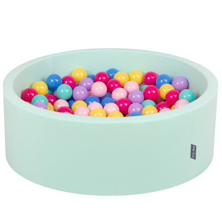 KiddyMoon Baby Foam Ball Pit with Balls ∅ 7cm / 2.75in Certified, Mint:D.Pink-L.Pink-Lilac-Blue-L.Turquoise-Yellow