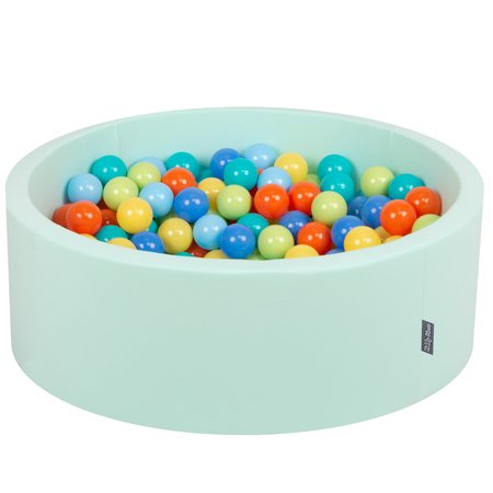 KiddyMoon Baby Foam Ball Pit with Balls 7cm /  2.75in Certified, Mint: L.Green/ Orange/ Turquoise/ Blue/ Babyblue/ Yellow