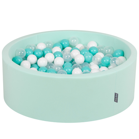 KiddyMoon Baby Foam Ball Pit with Balls ∅ 7cm / 2.75in Certified, Mint:Light Turquoise-White-Transparent