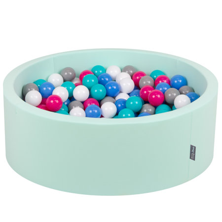 KiddyMoon Baby Foam Ball Pit with Balls 7cm /  2.75in Certified, Mint: White/ Grey/ Blue/ Dark Pink/ Light Turquoise