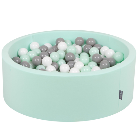 KiddyMoon Baby Foam Ball Pit with Balls 7cm /  2.75in Certified, Mint: White/ Grey/ Mint