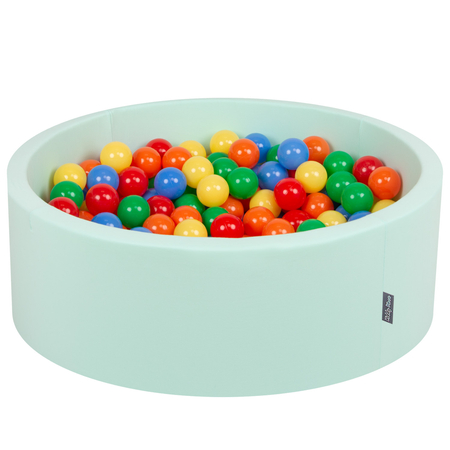 KiddyMoon Baby Foam Ball Pit with Balls 7cm /  2.75in Certified, Mint: Yellow/ Green/ Blue/ Red/ Orange
