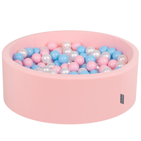 KiddyMoon Baby Foam Ball Pit with Balls 7cm /  2.75in Certified, Pink: Baby Blue/ Light Pink/ Pearl