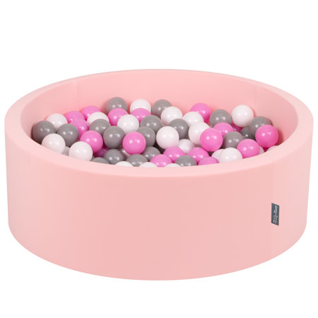 KiddyMoon Baby Foam Ball Pit with Balls 7cm /  2.75in Certified, Pink: Grey/ White/ Pink