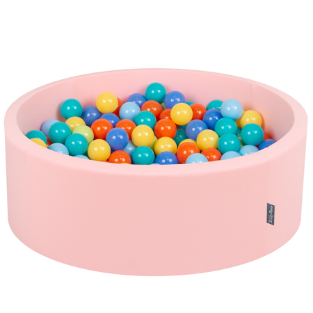 KiddyMoon Baby Foam Ball Pit with Balls 7cm /  2.75in Certified, Pink: L.Green/ Orange/ Turquoise/ Blue/ Babyblue/ Yellow