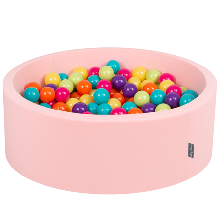 KiddyMoon Baby Foam Ball Pit with Balls 7cm /  2.75in Certified, Pink: L.Green/ Yellow/ Turquoise/ Orange/ D.Pink/ Purple